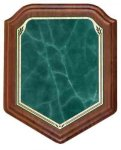 Shield Walnut Plaque with Green Marble Plate Achievement Awards