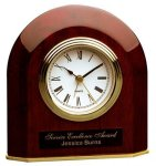 Piano Finish Rosewood Beveled Arch Clock Employee Awards
