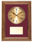 American Walnut Framed Wall Clock with Gold Face & Maroon Velour Employee Awards