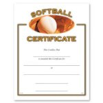 Softball Fill in the Blank Certificates