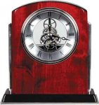 Rosewood Piano Finish Arch Clock with Silver Trim Sales Awards